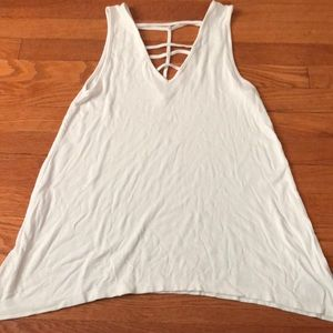 American Eagle White Cotton Ribbed Tank size S